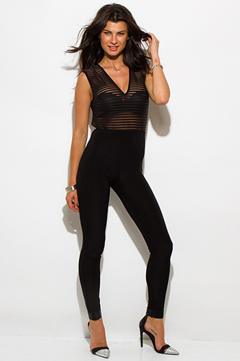 $20 - Cute cheap black fitted sexy club catsuit - black sheer stripe mesh sleeveless fitted bodycon backless clubbing catsuit jumpsuit