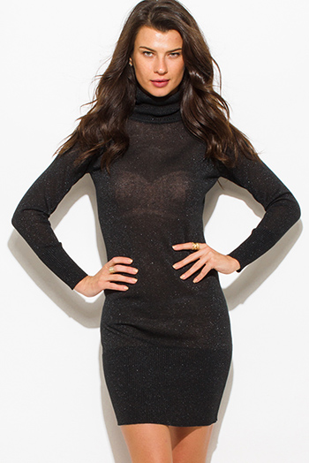 $15 - Cute cheap long sleeve bodycon sexy club mini dress - black shimmer metallic turtleneck ribbed fitted bodycon long sleeve sweater mini dress