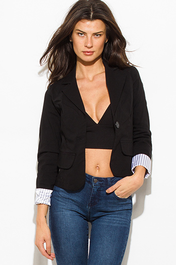 $15 - Cute cheap black single button fitted pinstripe cuffed suiting blazer jacket top