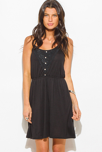 $10 - Cute cheap boho open back romper - black spaghetti strap lace contrast racer back boho mini sun dress