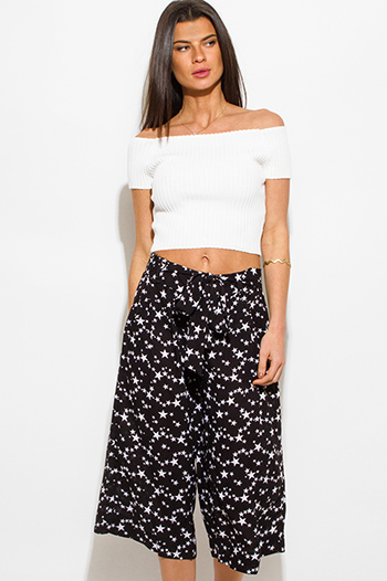 $15 - Cute cheap black star print waist tie pocketed resort boho wide leg palazzo pants
