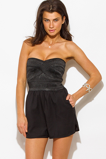 $15 - Cute cheap black strapless belted high waisted crochet jumpsuit - black strapless bandage contrast sexy party romper jumpsuit