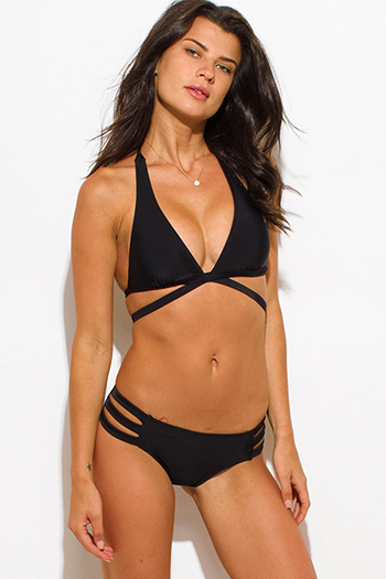 $25 - Cute cheap black mesh caged panel halter neck sexy party swimsuit set - black strappy cut out halter neck party swimsuit set