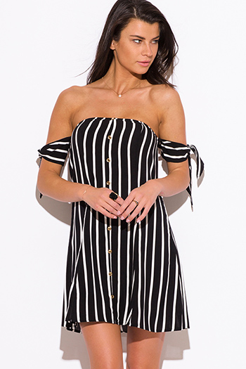 $15 - Cute cheap sundress - black stripe off shoulder boho mini sun dress