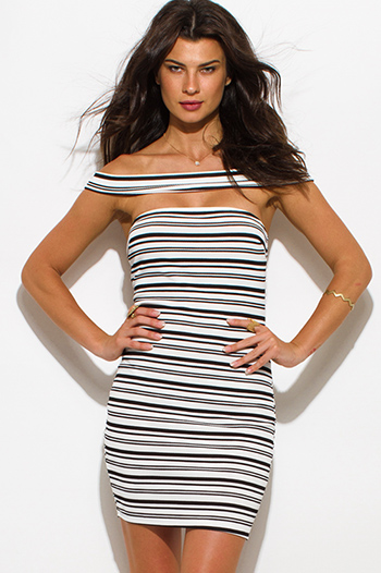 $10 - Cute cheap strapless boho mini dress - black striped textured off shoulder strapless bodycon mini sexy club dress