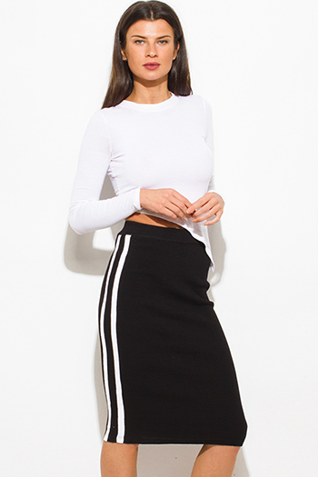 $15 - Cute cheap black high waisted golden belt pocketed zipper back suiting midi pencil skirt - black sweater ribbed knit white double stripe fitted midi pencil skirt