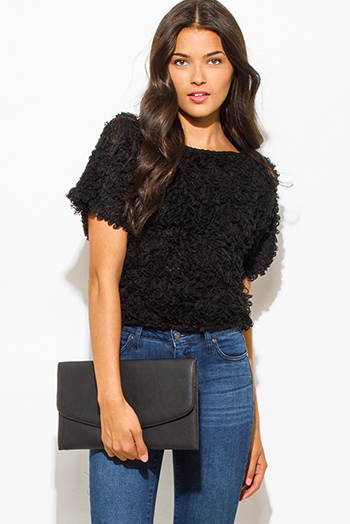 $10 - Cute cheap peppered black cotton blend fuzzy textured boho sweater knit top - black textured boat neck wide short sleeve sweater knit crop blouse top