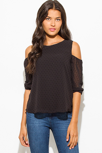 $20 - Cute cheap cold shoulder bodycon bodysuit - black textured chiffon cold shoulder quarter sleeve keyhole back boho blouse top