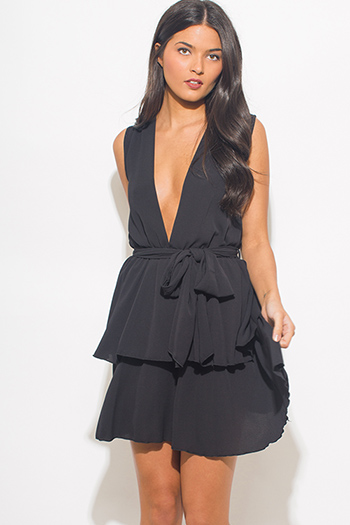 $20 - Cute cheap metallic bandage cocktail dress - black textured chiffon deep v neck sleeveless tiered cocktail mini sun dress