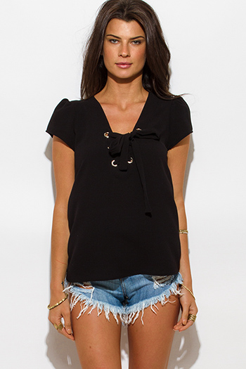 $15 - Cute cheap black chiffon crochet top - black textured chiffon laceup tie front cap sleeve boho blouse top