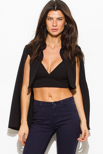 $15 - Cute cheap clothes - black textured fabric open front cape cropped blazer top