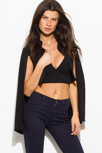 $10 - Cute cheap black tie front pocket chiffon harem pants 108420 - black textured fabric open front cape cropped blazer top