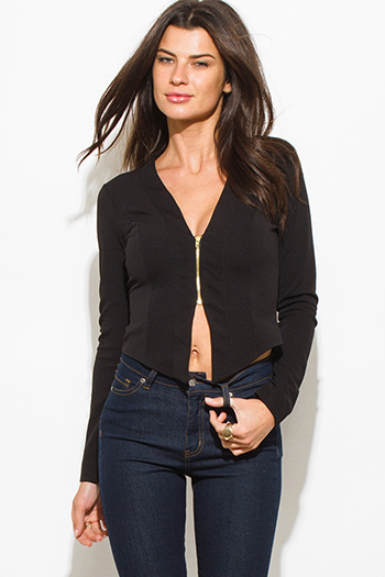 $15 - Cute cheap black high waisted zip up skinny fitted suiting trouser pants - black textured long sleeve asymmetrical hem zip up fitted jacket top