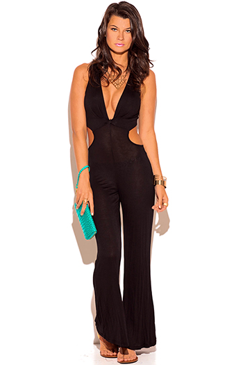 $7 - Cute cheap jumpsuit for women - black twist front deep v neck cut out backless wide leg summer jumpsuit