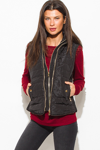 $25 - Cute cheap black gray faux fur sexy party vest top - black utilitarian zip up faux fur lined golden button zip up hooded pocketed puffer vest