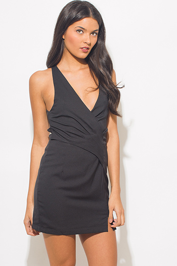 $15 - Cute cheap fitted wrap sexy party dress - black v neck faux wrap criss cross back fitted cocktail party mini dress
