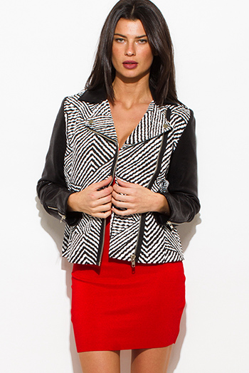 $30 - Cute cheap white satin faux leather trim zip up long sleeve bomber jacket top - black white abstract stripe print faux leather asymmetrical zip up moto blazer jacket top