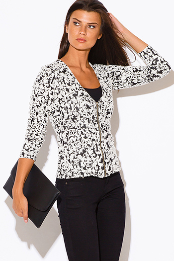$20 - Cute cheap cute juniors fitted career blazer jacket 55345 - black baroque print fitted zip up blazer jacket