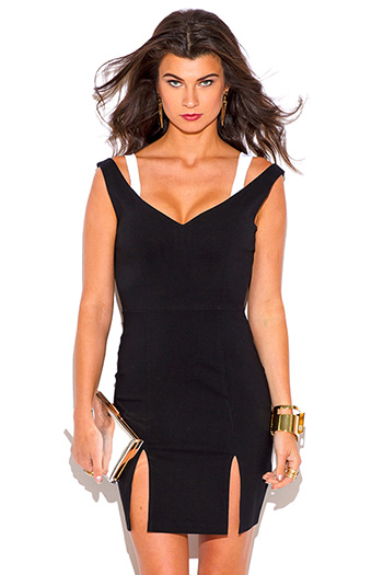 $5 - Cute cheap color block dress - black white color block cut out sweetheart v neck double slit sexy party mini dress