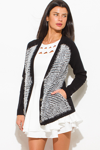 $20 - Cute cheap black white color block textured open front fuzzy sweater knit cardigan top