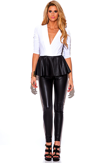 $10 - Cute cheap golden fox black faux leather wrap bracelet 82197 - black white faux leather peplum fitted bodycon evening sexy party catsuit jumpsuit