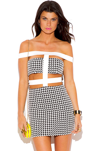 $10 - Cute cheap off shoulder dress - black white houndstooth off shoulder caged bodycon fitted pencil sexy party mini dress