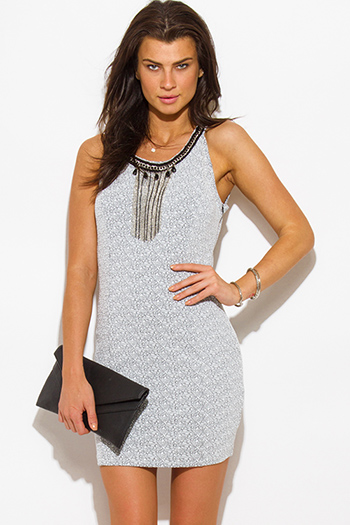 $10 - Cute cheap new years eve dresses - black white jacquard chain bejeweled caged cut out back fitted bodycon pencil sexy club mini dress