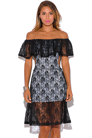 $5 - Cute cheap off shoulder dress - black lace ruffle off shoulder cut out sexy party midi dress