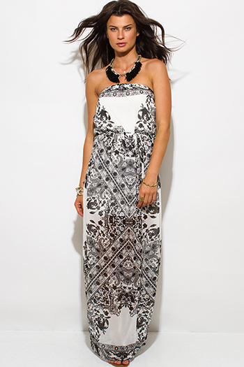 $20 - Cute cheap white boho maxi dress - black white paisley ethnic print chiffon strapless evening sexy party boho maxi sun dress