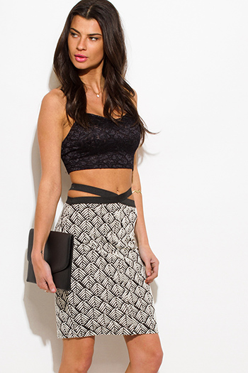 $10 - Cute cheap lace fitted skirt - black/white palm print cut out high waisted slit fitted bandage pencil sexy party mini skirt