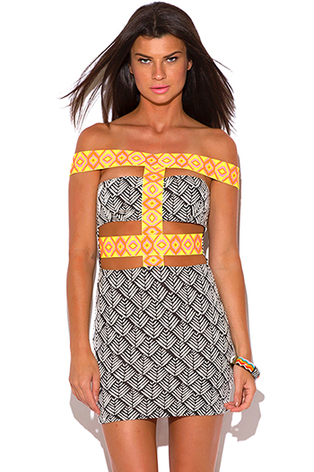 $10 - Cute cheap off shoulder dress - neon ethnic trim palm print cut out off shoulder caged bodycon fitted pencil sexy party mini dress