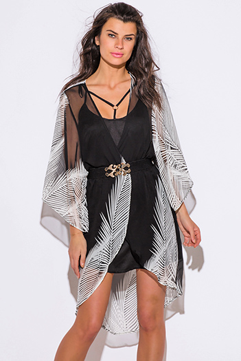 $15 - Cute cheap clothes - black white palm print semi sheer chiffon boho kimono jacket