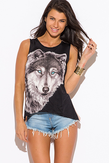 $8 - Cute cheap black wolf graphic print muscle tank top