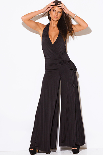 $30 - Cute cheap cute womens shorts attached black lace wide leg pants - black wrap V neck halter pleated wide leg evening sexy party jumpsuit