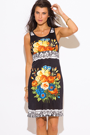 $15 - Cute cheap love point dress - black yellow floral print shift midi sexy party dress