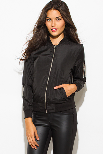 $20 - Cute cheap white satin faux leather trim zip up long sleeve bomber jacket top - black zip up banded cropped bomber jacket top