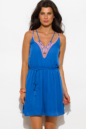 $15 - Cute cheap beige boho sun dress - blue embroidered cut out drawstring spaghetti strap boho summer mini sun dress