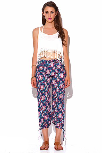 $5 - Cute cheap black bow tie high waisted harem pants - blue floral print bow tie ankle pants