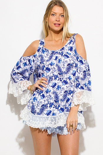 $15 - Cute cheap print sheer blouse - blue floral paisley print cold shoulder bell sleeve lace trim boho blouse top