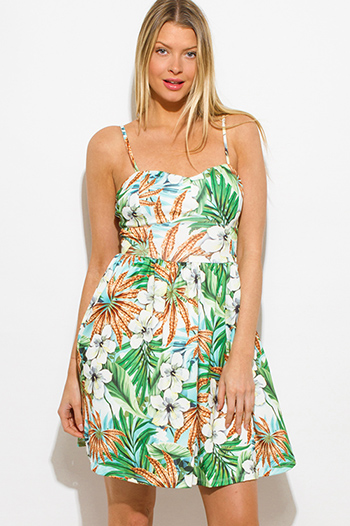 $15 - Cute cheap print draped backless dress - blue green multicolor tropical print bustier laceup back skater mini dress