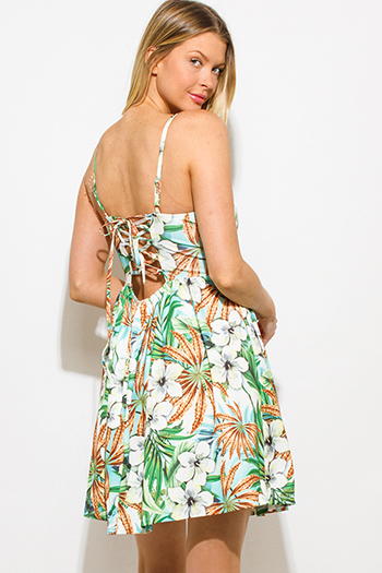 $15 - Cute cheap metallic cape mini dress - blue green multicolor tropical print bustier laceup back skater mini dress