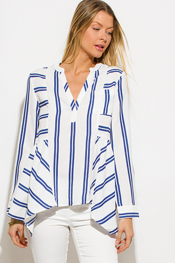 $15 - Cute cheap light blue washed denim quarter sleeve snap button up blouse top - blue striped v neck indian collar long sleeve resort peasant blouse top