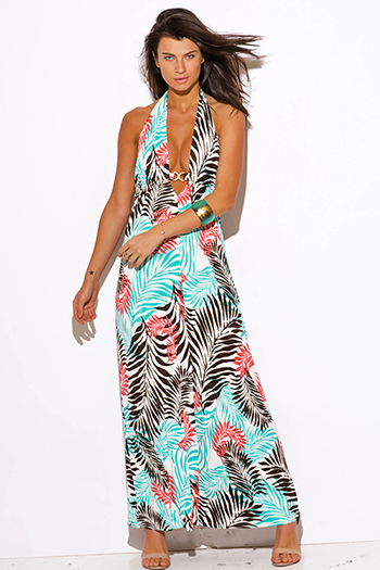 $30 - Cute cheap clothes - blue tropical palm print bejeweled draped backless babydoll summer sexy party maxi dress