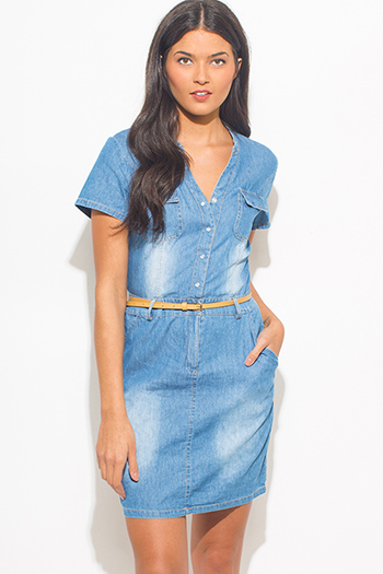 $20 - Cute cheap gray cotton mini dress - blue washed chambray short sleeve pocketed belted boho mini shirt dress