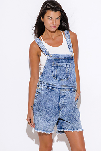 $25 - Cute cheap cute junior off shoulder denim jumpsuit - blue washed denim romper jumpsuit