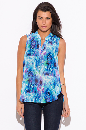 $15 - Cute cheap blue chiffon crochet romper - blue watercolor floral print chiffon sleeveless blouse top