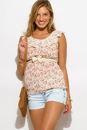 $15 - Cute cheap clothes - blush ivory floral print chiffon crochet lace trim boho sleeveless blouse top