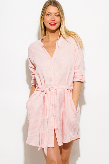$20 - Cute cheap gauze cotton sun dress - blush pink button up pocketed quarter sleeve belted beach cover up mini sun dress