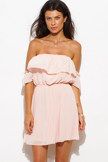 $20 - Cute cheap blush pink semi sheer lace cap sleeve fitted a line skater mini dress - blush pink chiffon off shoulder ruffle tiered boho mini sun dress