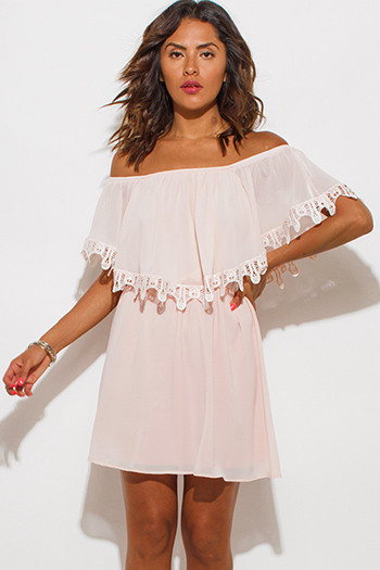 $10 - Cute cheap chiffon crochet mini dress - blush pink chiffon ruffle off shoulder crochet trim boho mini sun dress